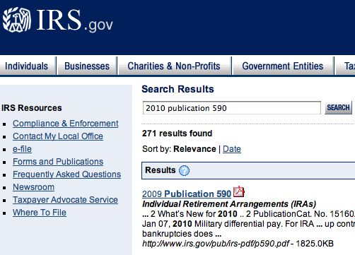 IRS Publication 590 webpage